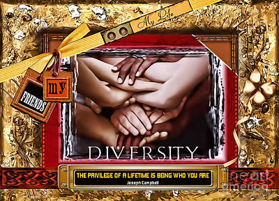 Poster featuring the digital art Diversity by Kathy Tarochione