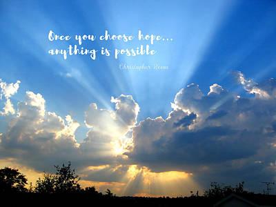 Divine Light Bursting Through Clouds Hope Poster