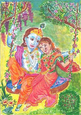 Divine Love Between Radha And Krishna Poster by Chitra Pandalai