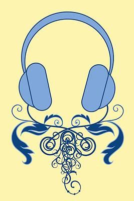 Dj Music Headphones Ornamental Abstract Vector Art Poster