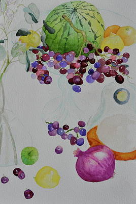 Poster featuring the painting Django's Grapes by Beverley Harper Tinsley