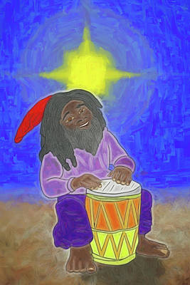 Poster featuring the digital art Djembe Under The Stars by John Haldane