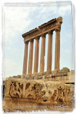Do-00314 The 6 Corinthian Columns In Baalbeck Poster by Digital Oil