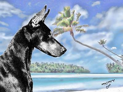 Doberman In The Tropics Poster by Maria C Martinez