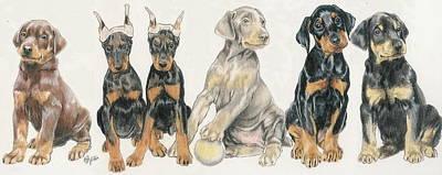 Doberman Puppies Poster by Barbara Keith