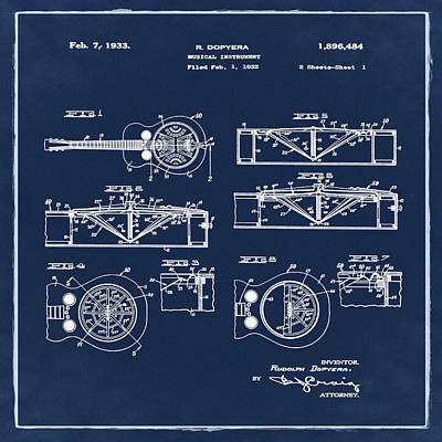 Dobro Guitar Patent 1933 Blue Poster