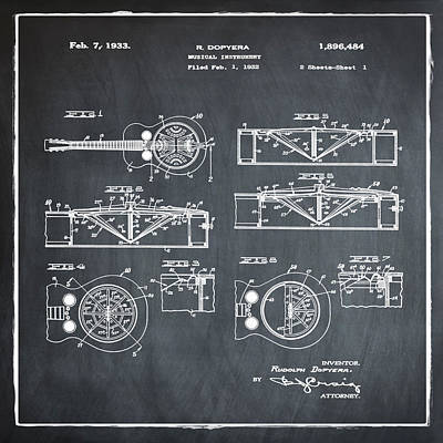 Dobro Guitar Patent 1933 Chalk Poster by Bill Cannon