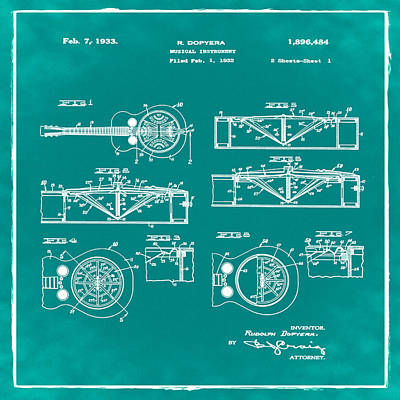 Dobro Guitar Patent 1933 Green Poster