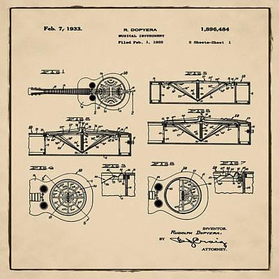 Dobro Guitar Patent 1933 Sepia Poster by Bill Cannon