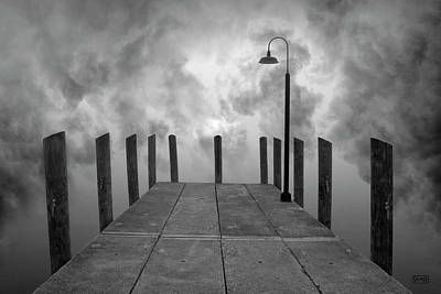 Dock And Clouds Poster by Dave Gordon