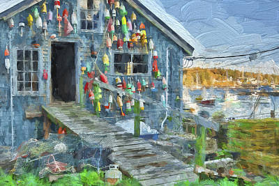 Dock House In Maine II Poster by Jon Glaser