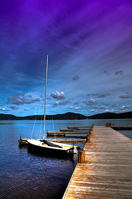 Docked On Fourth Lake Poster by David Patterson