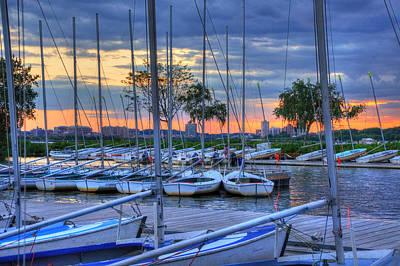 Docked Sailboats At Sunset - Boston Poster by Joann Vitali