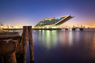 Dockland At Night Poster by Marc Huebner