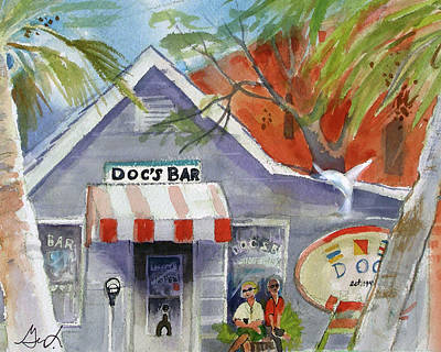 Poster featuring the painting Docs Bar Tybee Island by Gertrude Palmer
