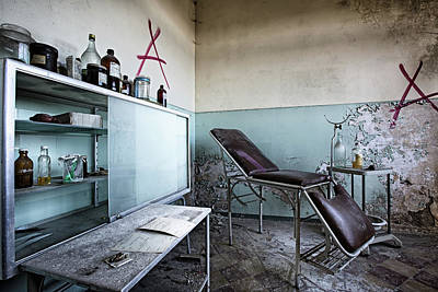 Poster featuring the photograph Doctor Chair Awaits Patient - Urbex Exploaration by Dirk Ercken