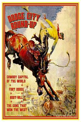 Dodge City Round Up Poster by Pg Reproductions