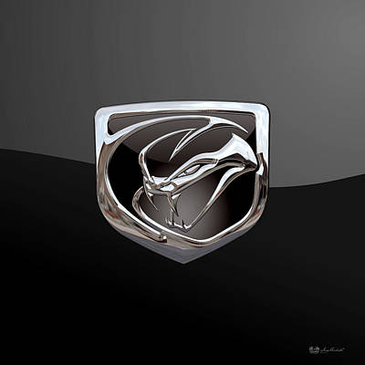 Dodge Viper - 3d Badge On Black Poster