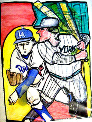 Dodgers Yankees Poster by James Christiansen
