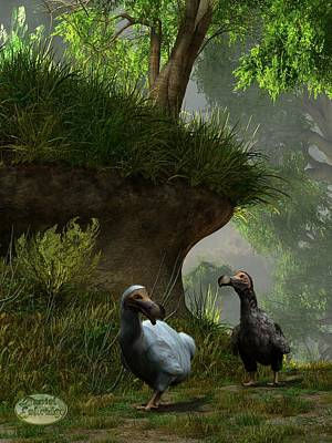 Dodos In The Forest Poster by Daniel Eskridge