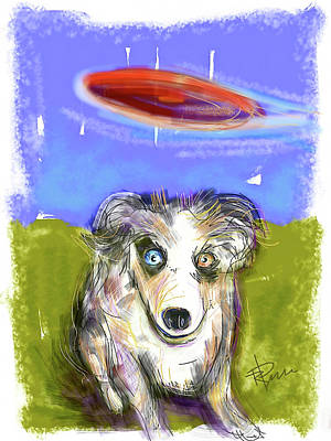 Dog And Frisbee Poster by Russell Pierce