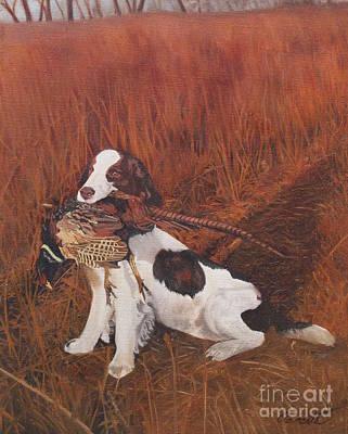 Dog And Pheasant Poster by Barbara Barber