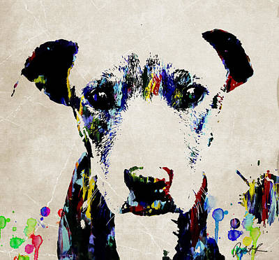 Dog Art Abstract Modern Painting Poster