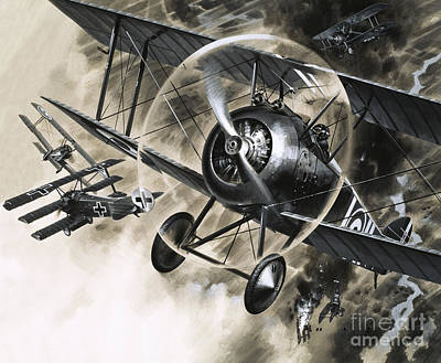 Dog Fight Between British Biplanes And A German Triplane Poster by Wilf Hardy