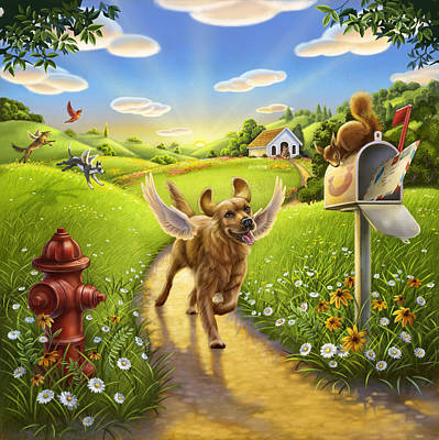 Dog Heaven With Wings Poster