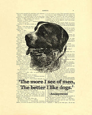 Dog Quote Art Print, I Like Dogs Poster by Madame Memento