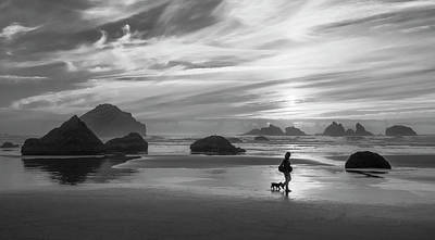 Dog Walker Bw Poster