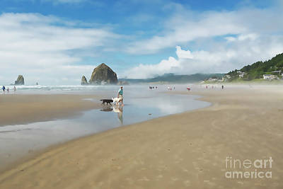 Dog Walking At Cannon Beach Poster