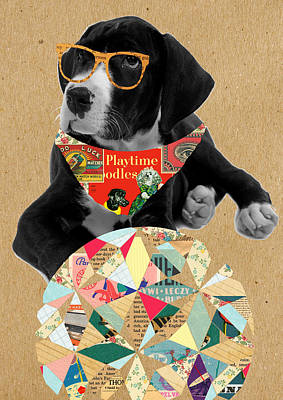 Dog With Ball Poster by Claudia Schoen