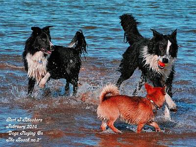 Dogs Playing On The Beach No. 2 L A Poster by Gert J Rheeders