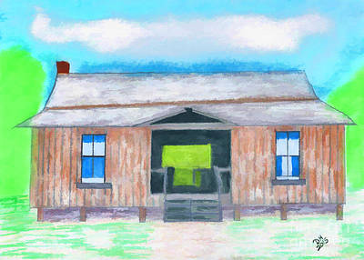 Dogtrot Cracker Home Drawing Poster by D Hackett