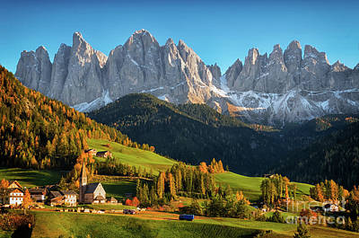 Dolomite Village In Autumn Poster
