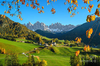 Dolomites Mountain Village In Autumn In Italy Poster