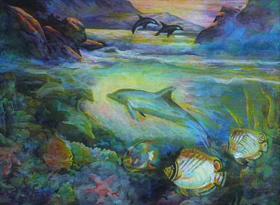 Poster featuring the painting Dolphin Fantasy by Denise Fulmer