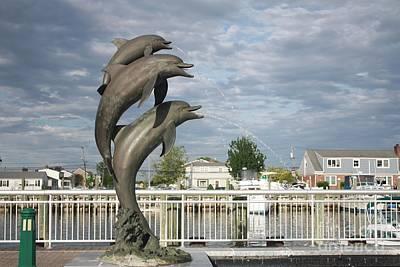 Dolphin Fountain On The Nautical Mile In Freeport Long Island Poster by John Telfer