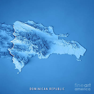 Dominican Republic 3d Render Topographic Map Blue Border Poster