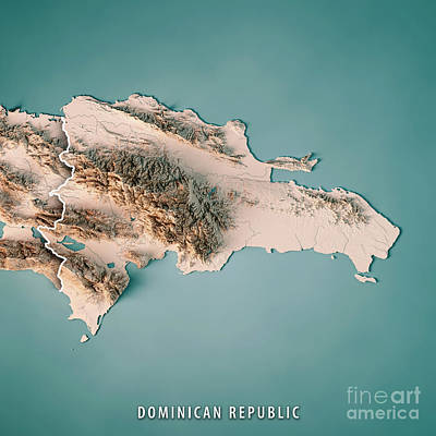 Dominican Republic 3d Render Topographic Map Neutral Border Poster