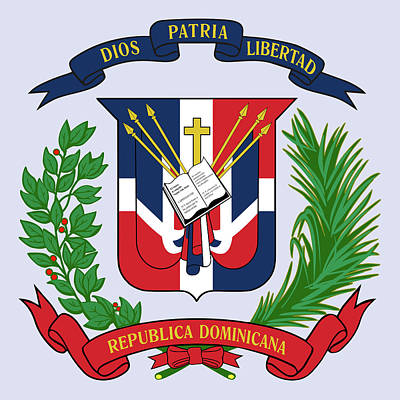 Poster featuring the drawing Dominican Republic Coat Of Arms by Movie Poster Prints