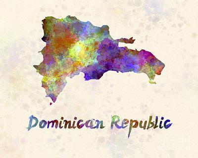 Dominican Republic In Watercolor Poster by Pablo Romero
