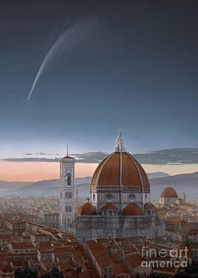 Donati's Comet And The Santa Maria Del Fiore Cathedral Poster