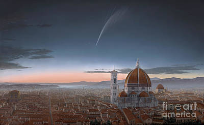 Donati's Comet Over Florence Poster