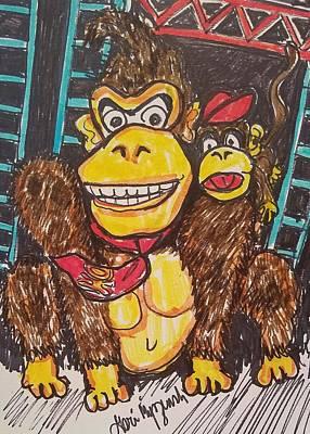 Donkey And Diddy Kong Poster by Geraldine Myszenski