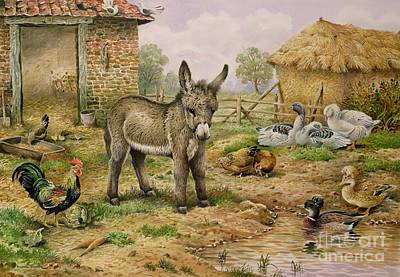 Donkey And Farmyard Fowl  Poster by Carl Donner