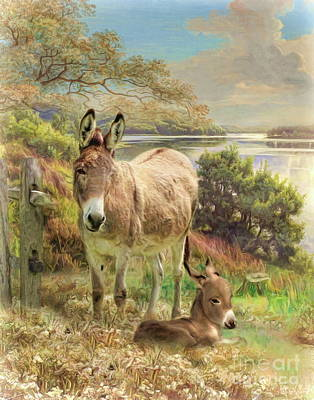 Poster featuring the digital art  Donkey And Foal by Trudi Simmonds