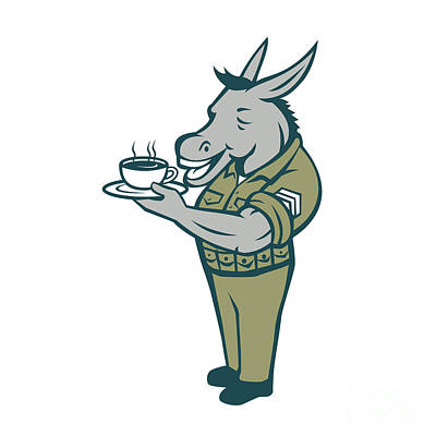 Donkey Sergeant Army Standing Drinking Coffee Cartoon Poster by Aloysius Patrimonio