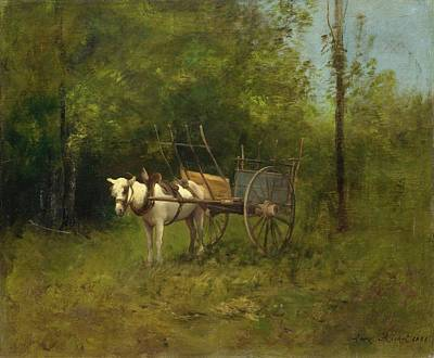 Donkey With Cart Poster by Richet